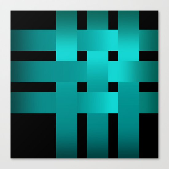 Abstraction .Weave turquoise satin ribbons . Patchwork . Canvas Print