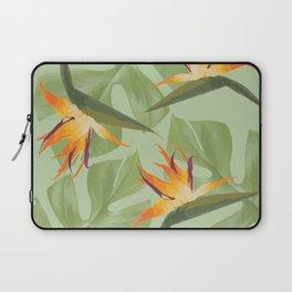Three Paradise Flowers with Monstera Leaf Laptop Sleeve