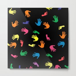 multicolored hand feet Metal Print