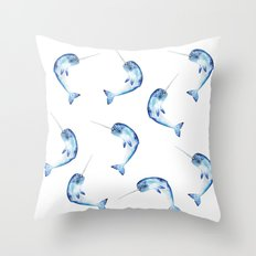 Narwhal, Blue Ditsy Print Throw Pillow