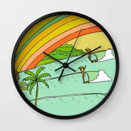 Surf Paradise Rainbow of Happiness Wall Clock