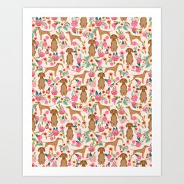 Vizsla florals dog pattern dog gifts dog breeds pet portraits by pet friendly Art Print