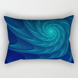 Aqua Blue Nautilus Sea Shell Rectangular Pillow