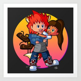 Tomboyish niece in her uncle's arms Art Print