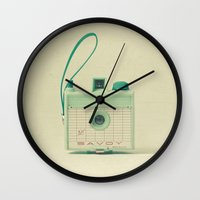 mint Wall Clocks featuring Mint by Cassia Beck