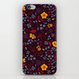 Mustard Yellow, Burgundy & Blue Floral Pattern iPhone Skin