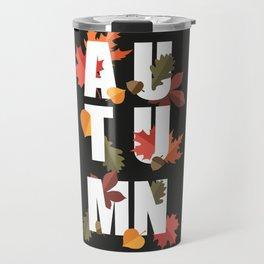Autumn word and leaves WHITE Travel Mug