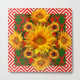 Western Red-White Golden Sunflowers Green Pattern Art Metal Print