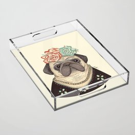 Frida Pug Kahlo Acrylic Tray