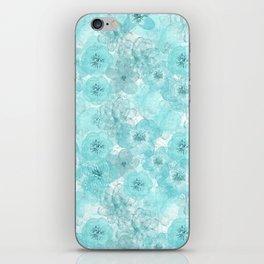 Turquoise aqua flower lace pattern iPhone Skin