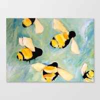 bees Canvas Prints featuring Bees by Claire Whitehead