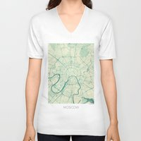 moscow V-neck T-shirts featuring Moscow Map Blue Vintage by City Art Posters