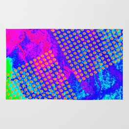 Polka dots on vibrant abstract background Rug