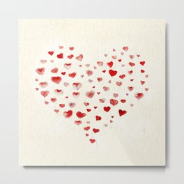 LOVE you! Watercolor Hearts. Valentine's Day Card Metal Print