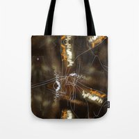 writing Tote Bags featuring Night Writing by Sky iouan