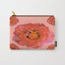 Delicate Saffron Pink Double Poppy Flowers Pattern Art Carry-All Pouch