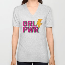 GIRL POWER FEMINIST THUNDER Unisex V-Neck
