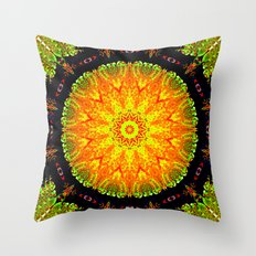Citrus Slice Kaleidoscope Throw Pillow