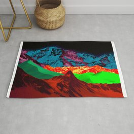 Neon Mountain Collage Rug