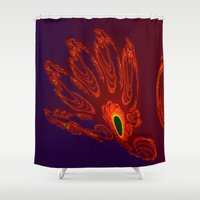 will graham Shower Curtains featuring glowing hand of mark c. graham by donphil