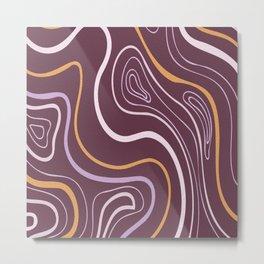 Circled  Waves  digital oil painting lines. Metal Print