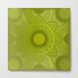 """Green Lemon Pattern Mandala Polka Dots"" Metal Print"