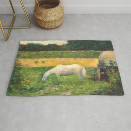"Georges Seurat ""Paysage avec cheval (Landscape with a white horse)"" Rug"