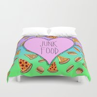junk food Duvet Covers featuring JUNK FOOD by SteffiMetal