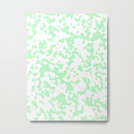 Spots - White and Light Green Metal Print