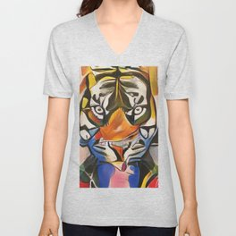 """Minimalistic, Cubist, Vibrant, Abstract Art-Piece titled: """"Tiger King"""" Unisex V-Neck"""