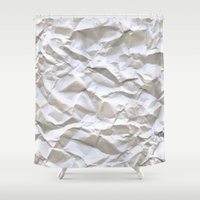 milk Shower Curtains featuring White Trash by pixel404