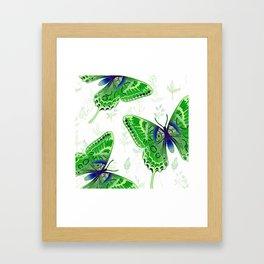 Beautiful Green Butterflies Flowers Garden Framed Art Print