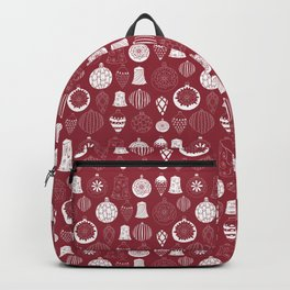 Christmas baubles on red background Backpack