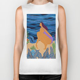 Eve at the beach Biker Tank