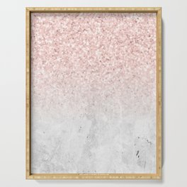 She Sparkles Rose Gold Pink Concrete Luxe Serving Tray