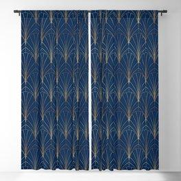 Art Deco Waterfalls // Navy Blue Blackout Curtain