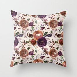 Bohemian orange violet brown watercolor floral pattern Throw Pillow