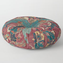 Flowery Arabic Rug I // 17th Century Colorful Plum Red Light Teal Sapphire Navy Blue Ornate Pattern Floor Pillow