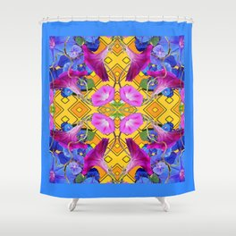 Blue  Patterns Morning Glories & Gold Shower Curtain