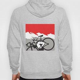 Cyclocross Athlete Running Carrying Bike Alps Retro Hoody