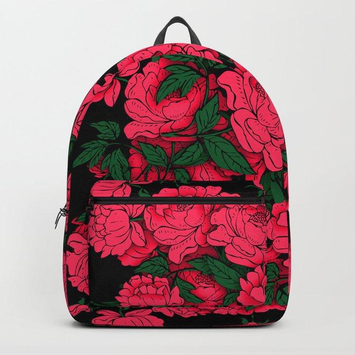 Red Peonies Backpack