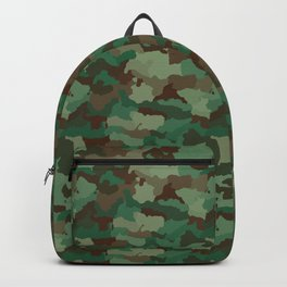 Military Army Green and Khaki Brown Camo Camouflage Print Backpack