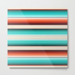 Navajo White, Turquoise and Burnt Orange Southwest Serape Blanket Stripes Metal Print