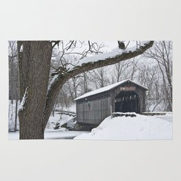 Fallasburg Covered Bridge in Winter Rug