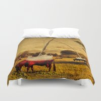 cows Duvet Covers featuring Cows by Gil Finkelstein