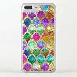 Rainbow mermaid scales Clear iPhone Case