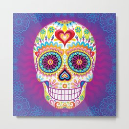 Sugar Skull Art (Luminesce) Metal Print