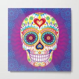 Sugar Skull Art (Luminesce) Metal Print