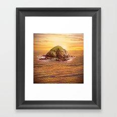 Island in the Ocean at Sunset Framed Art Print