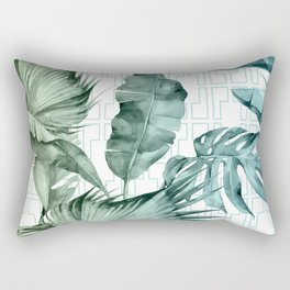 Mod Tropical Palm Leaves in Turquoise Green Blue Gradient Rectangular Pillow